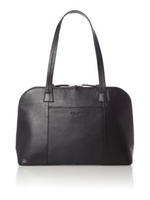 Pippin medium ziptop tote leather black bag