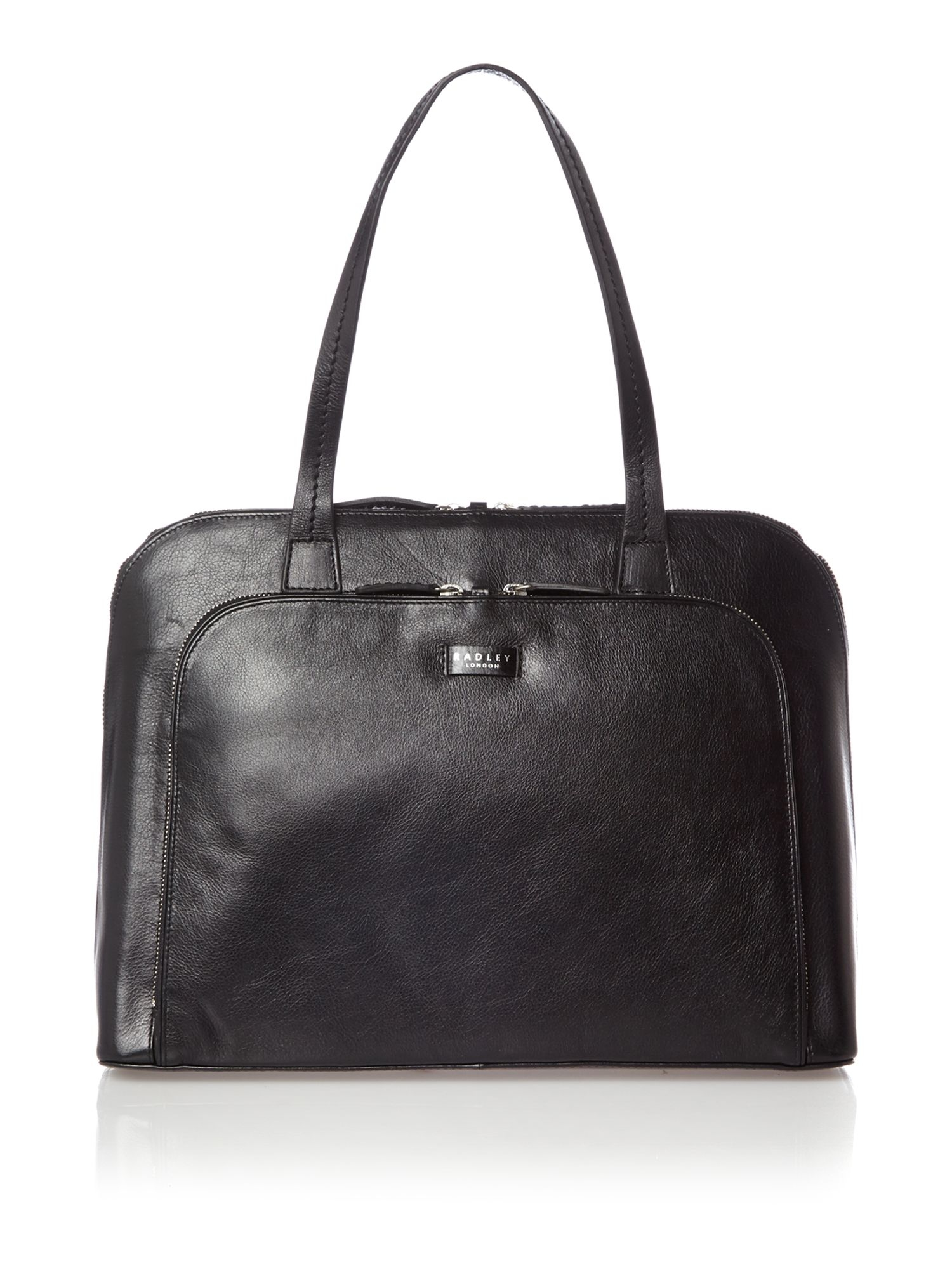 Pippin large ziptop leather black work bag
