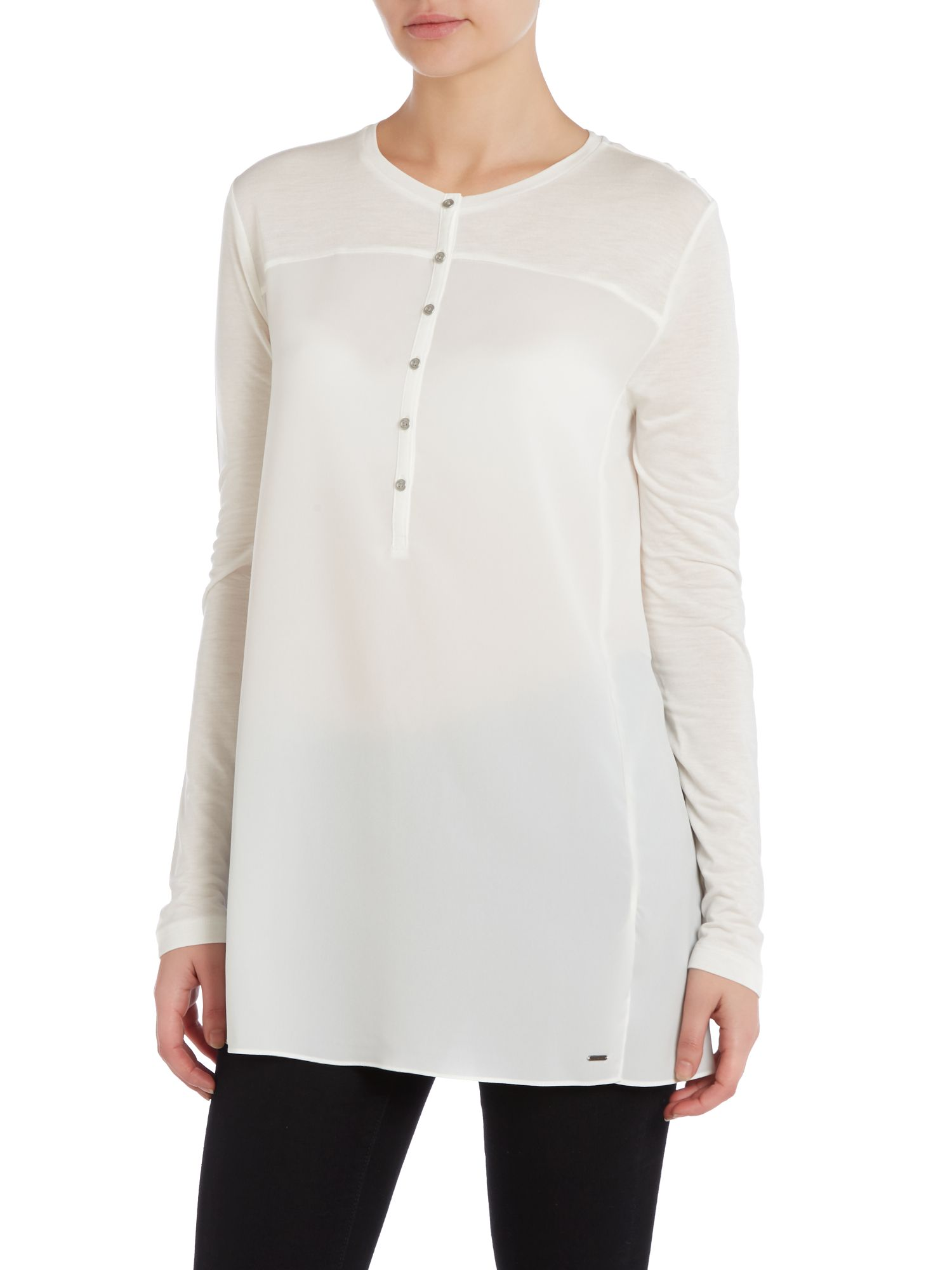 Long sleeve tess top in snow white