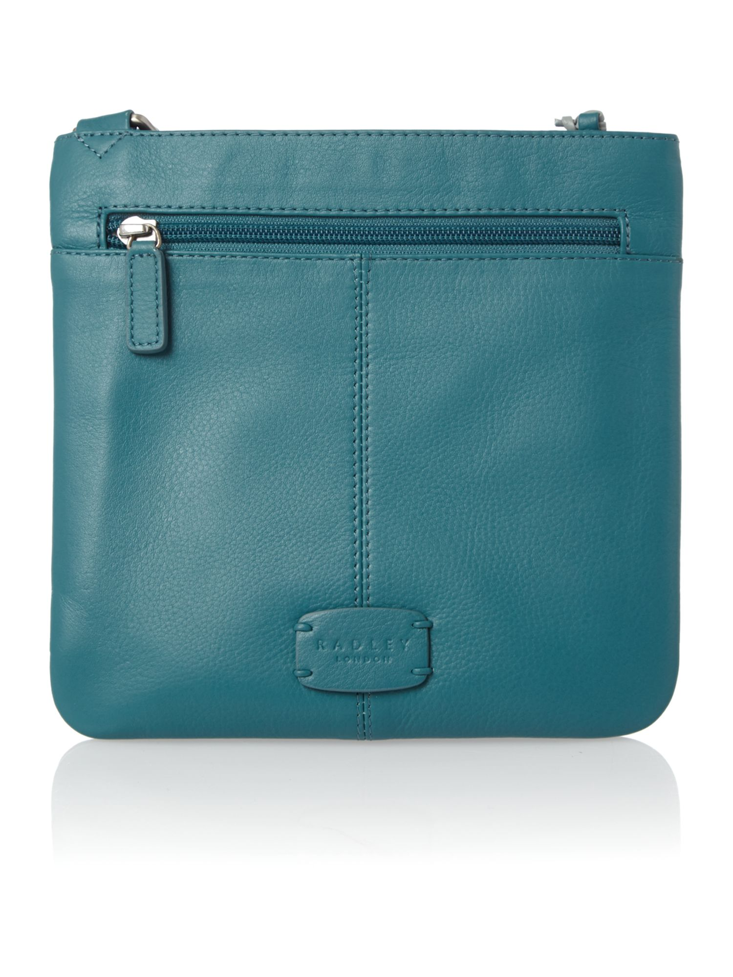 Pocket bag small ziptop xbody leather blue bag