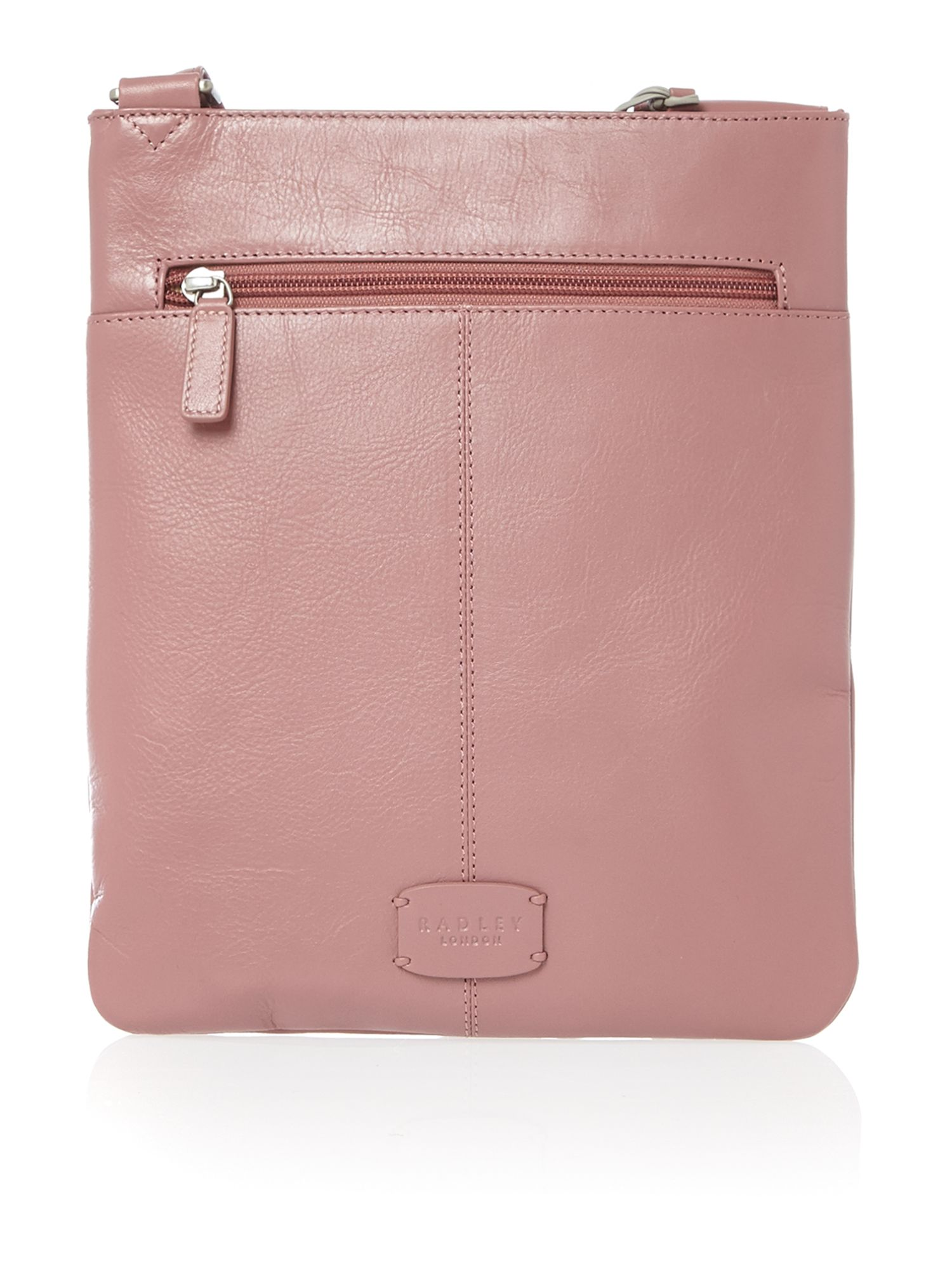 Pocket bag small ziptop xbody leather bag pink