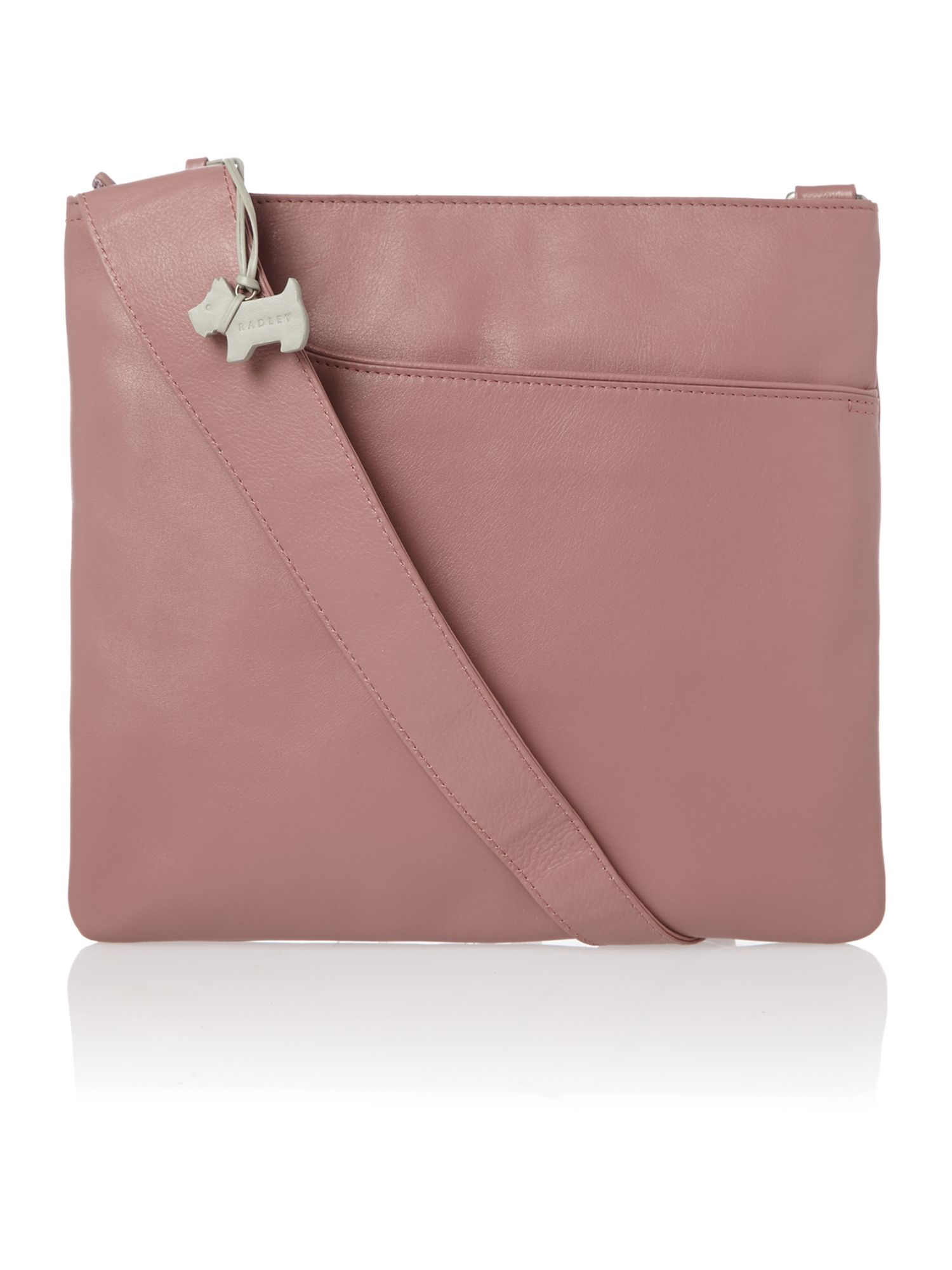 Pocket bag large ziptop xbody leather pink bag