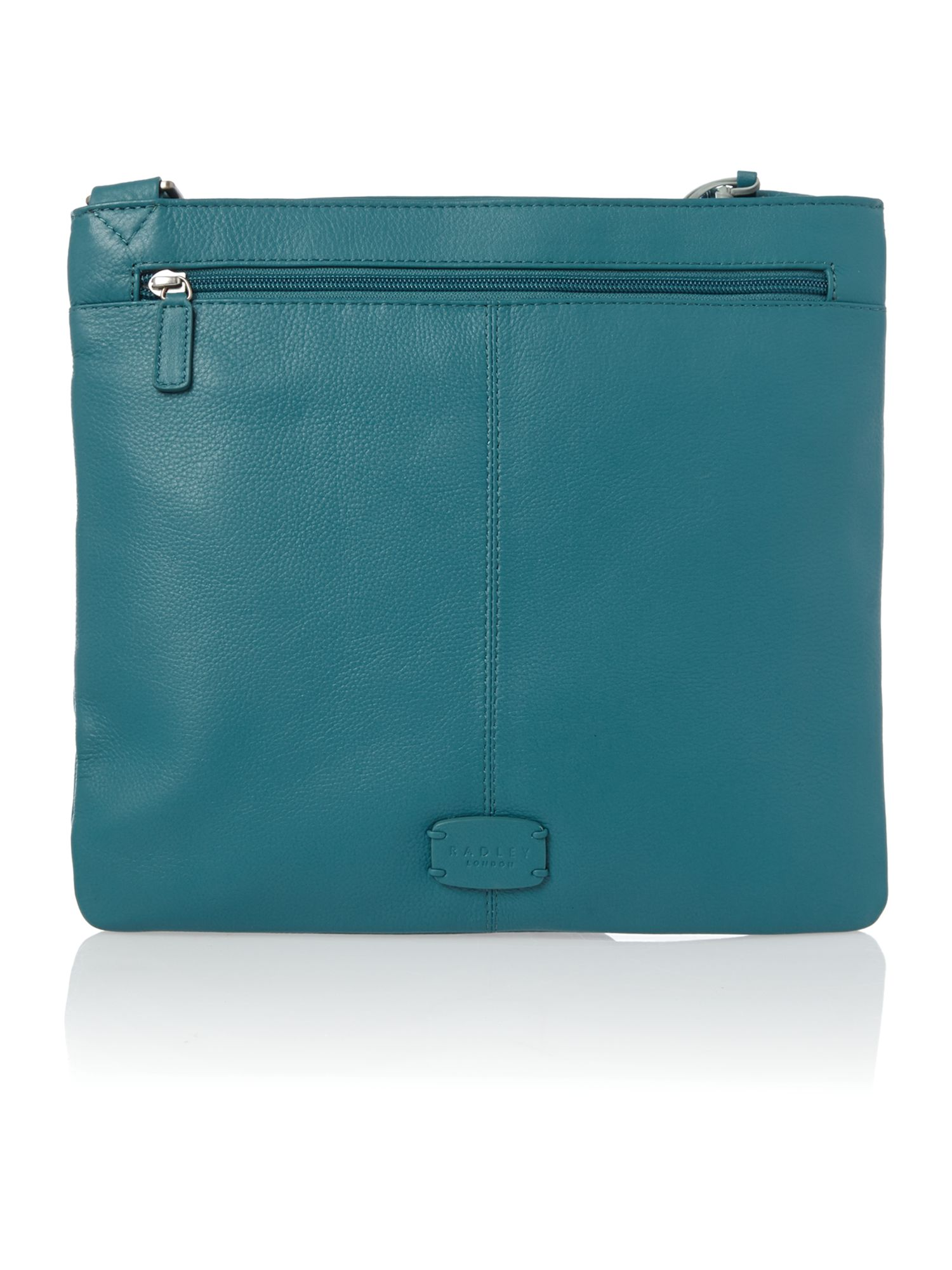 Pocket bag large ziptop xbody leather blue bag