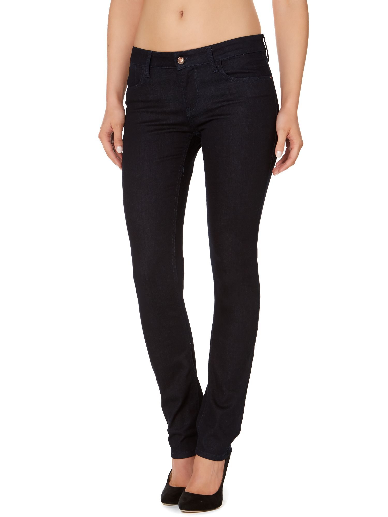 Mid rise slim jeans in verdant raw stretch