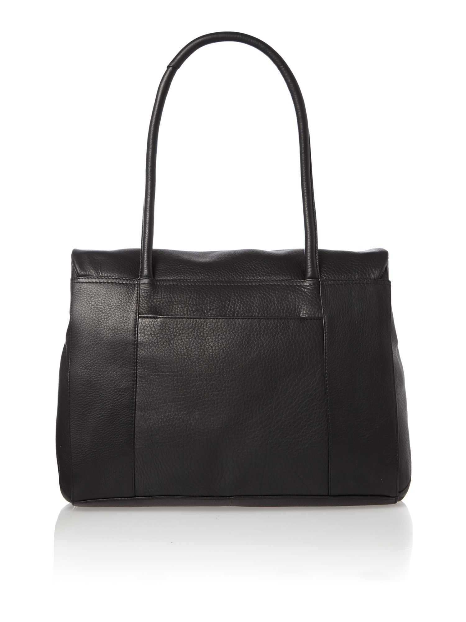 Waterloo large fover shoulder black leather bag