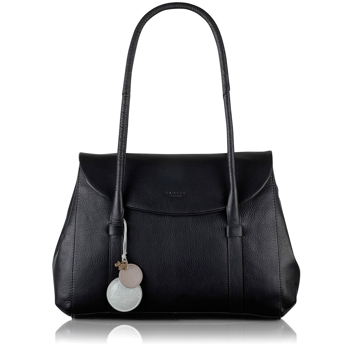 Waterloo medium flapover tote black leather bag