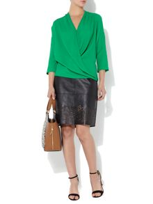 Leather Lazer Cut Pencil Skirt