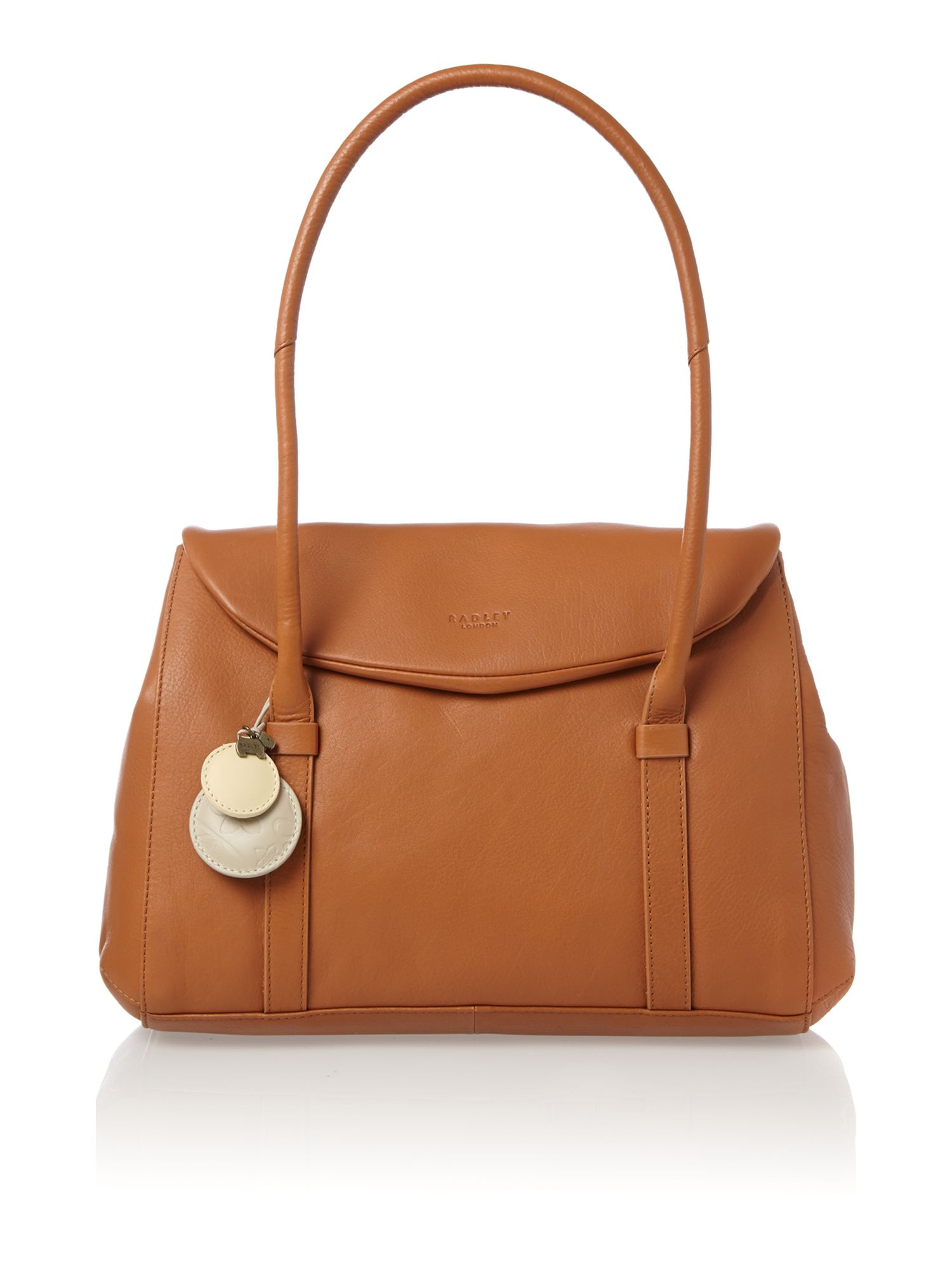 Waterloo medium flapover tote tan leather bag