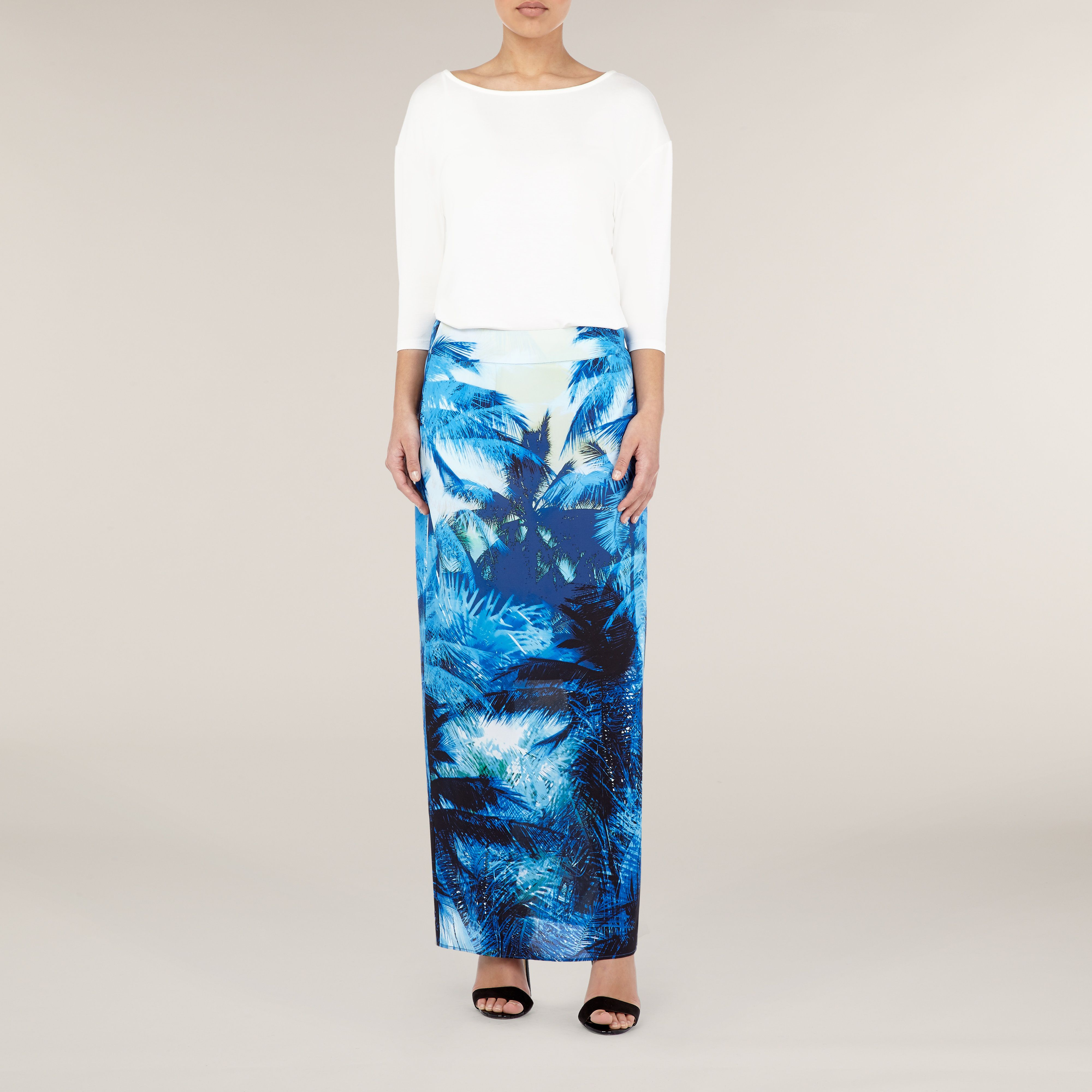 Ombre palm print maxi skirt