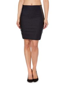 Jen skirt with leather sides in leather bonded