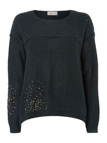 Embellished shoulder cropped jumper