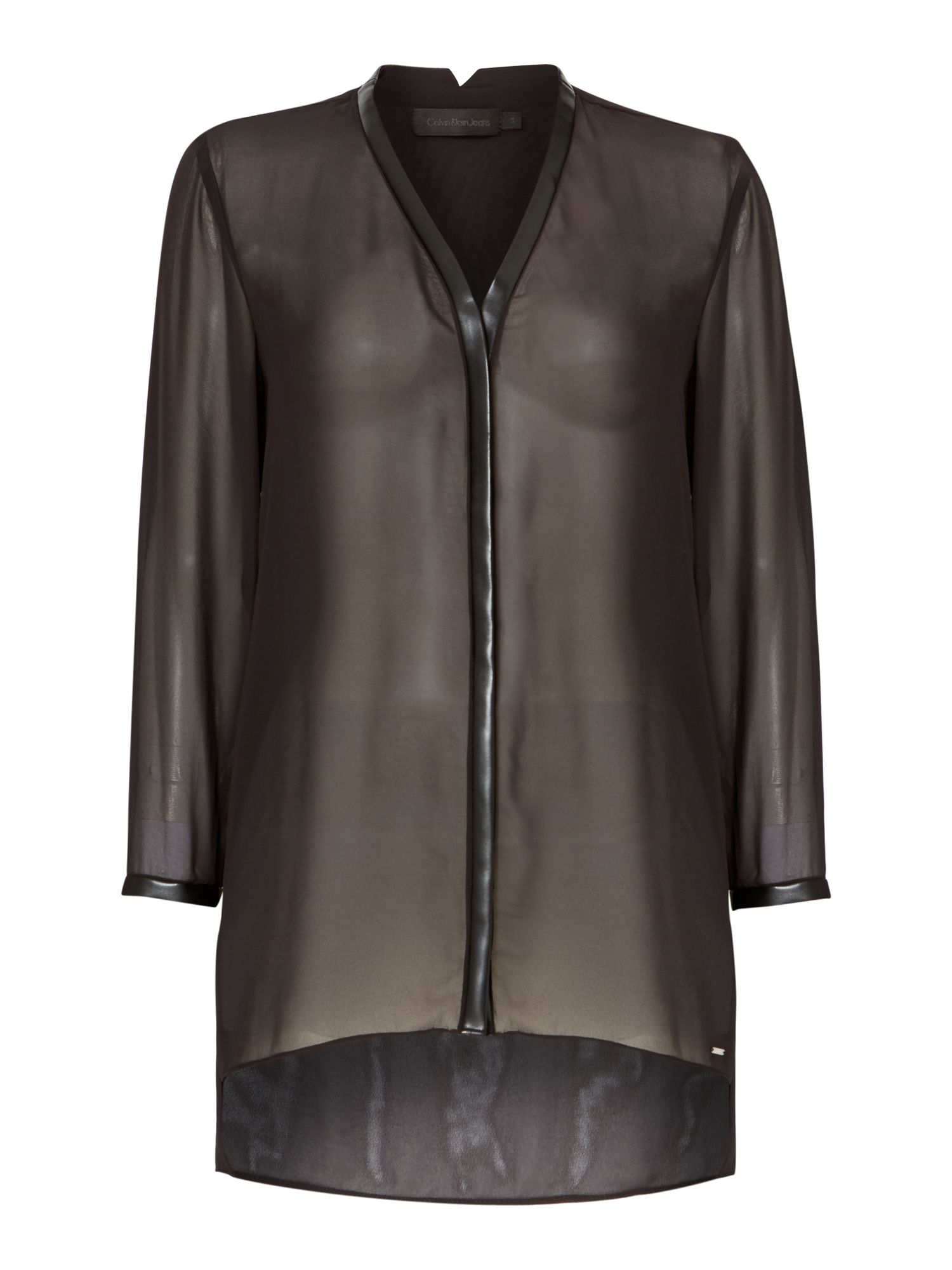 Walem shirt with leather trim in meteorite