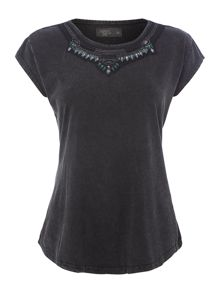 Mesh covered embellished tee