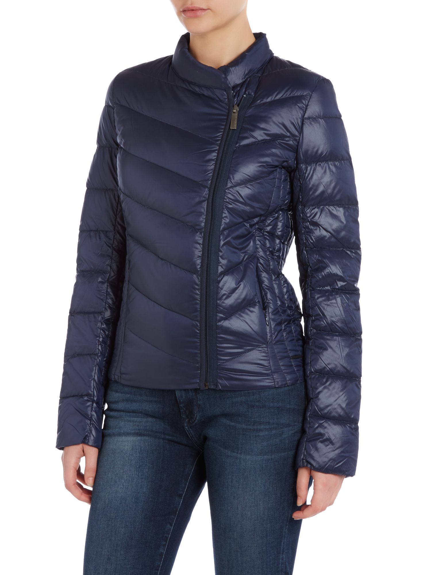 Obika coat with side front zip in night sky