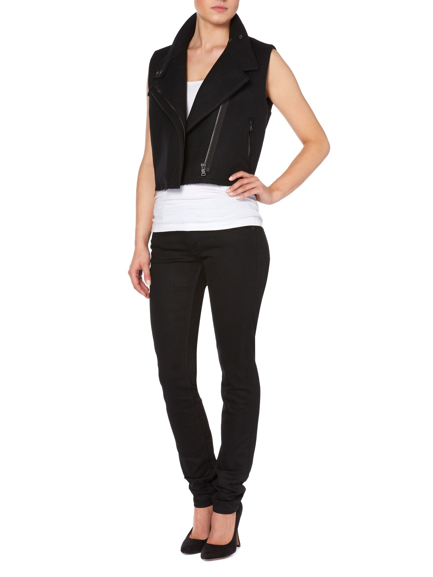Odan sleeveless biker jacket