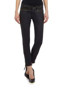 Mid rise skinny jeans with leather combo