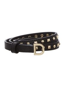Leather black skinny belt with d buckle