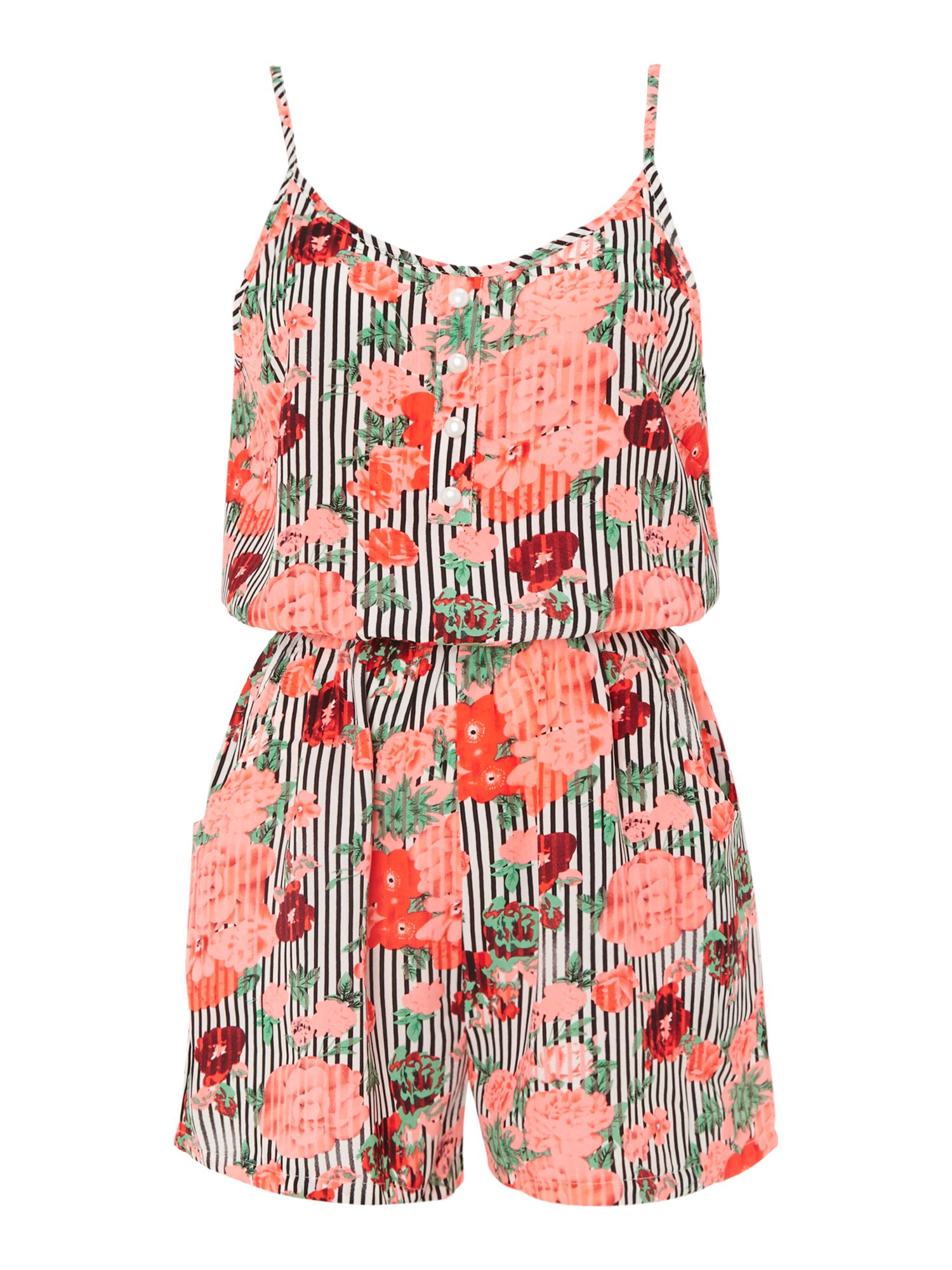 Flower On Stripes Playsuit