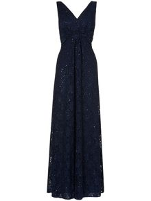 Shimmer lace maxi dress