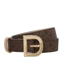 Leather brown belt with D ring buckle