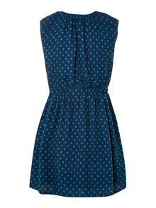 Girls woven spotty tie waist dress
