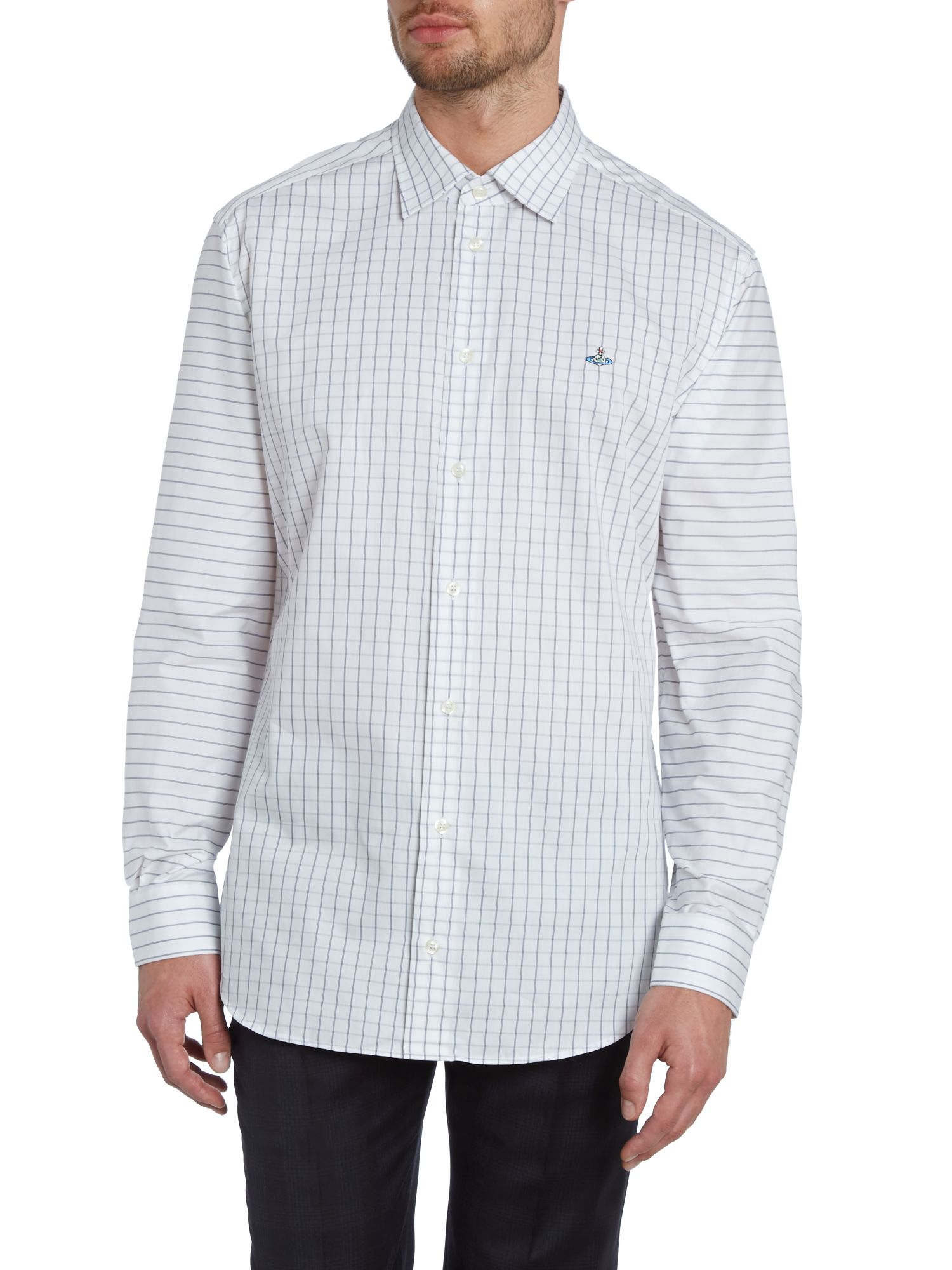 Check body stripe sleeve shirt