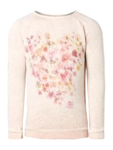 Girls floral heart graphic sweat
