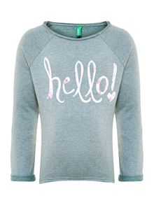 Girls floral hello! graphic sweat