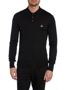 Long sleeve knitted polo shirt