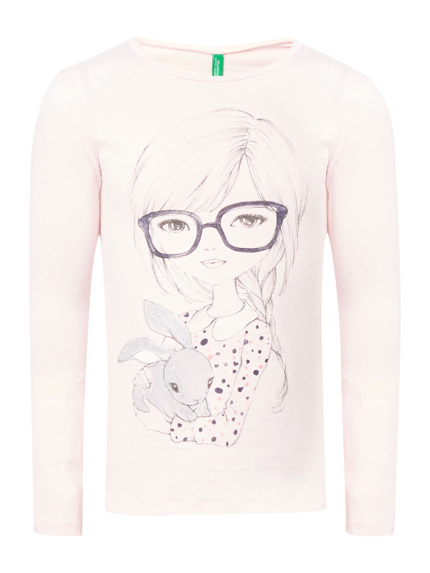 Girls girl & bunny graphic top