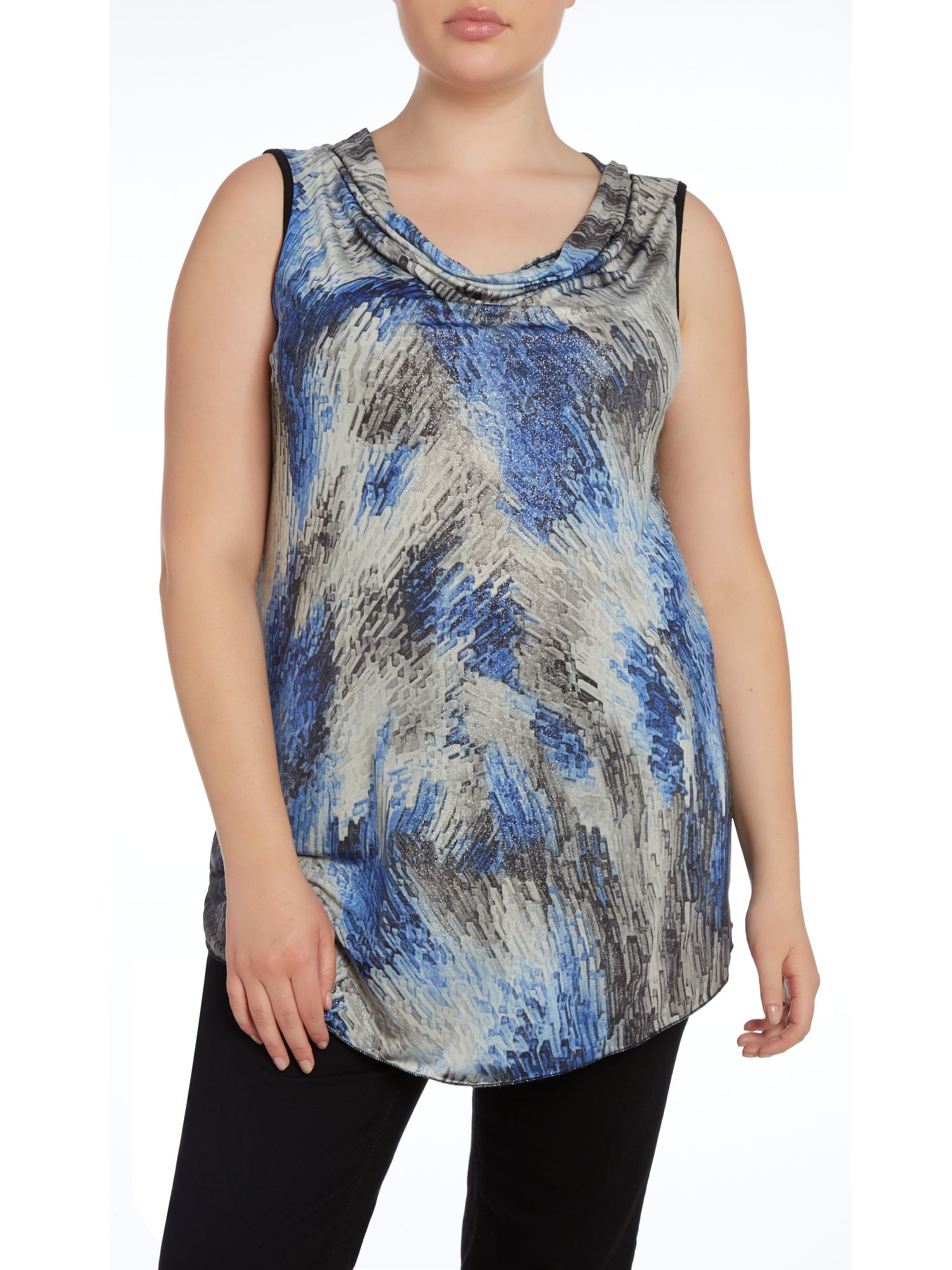 Cowl neck printed top