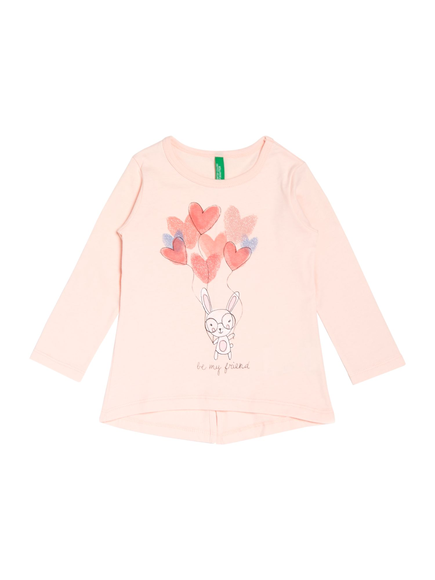 Girls glitter heart balloon graphic top