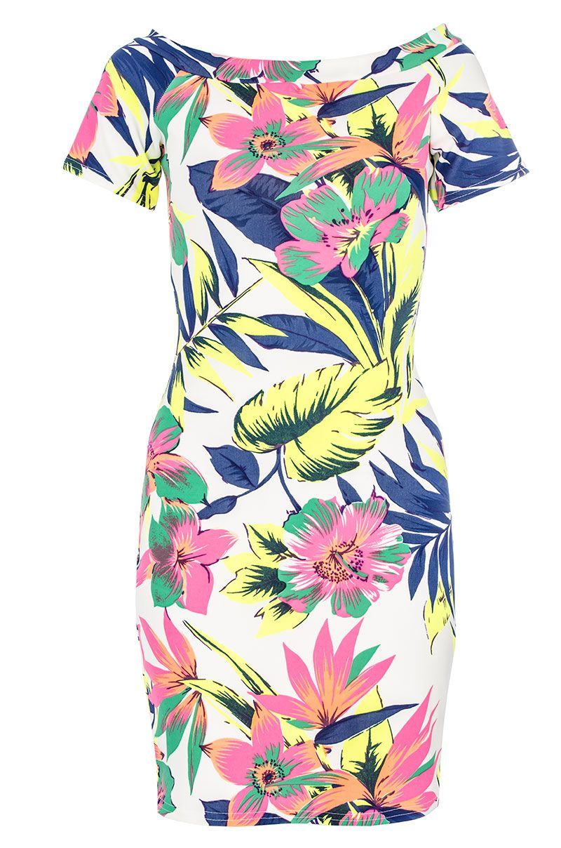Neon tropical print bardot dress
