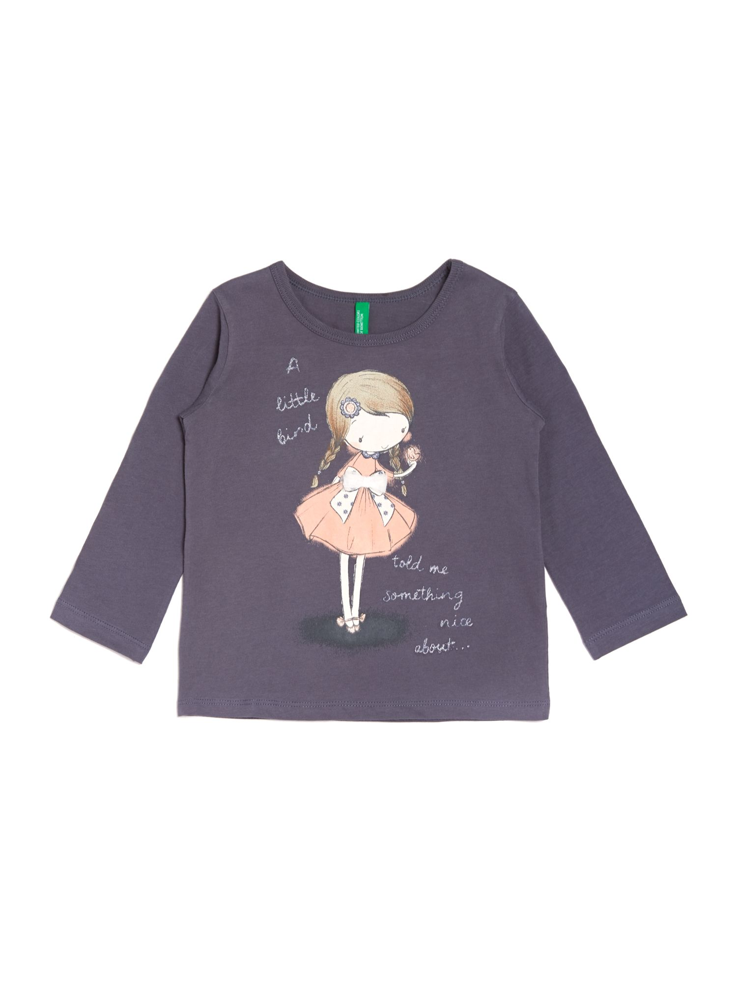 Girls glitter brid graphic top