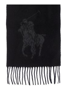 Large polo print lambswool scarf