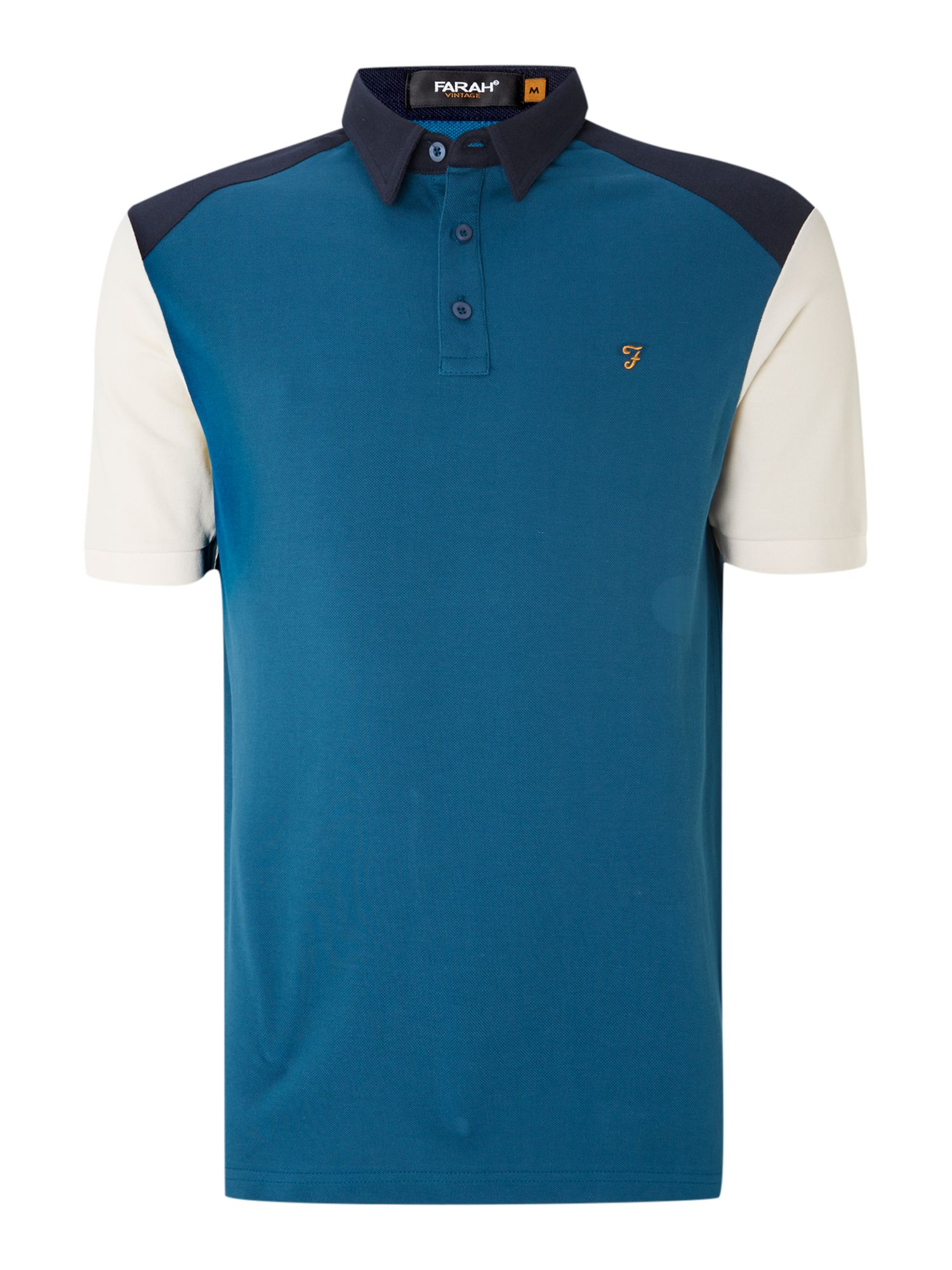 Nicklby panel colour block polo shirt