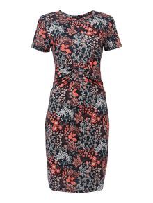 Leaf print knot front jersey dress