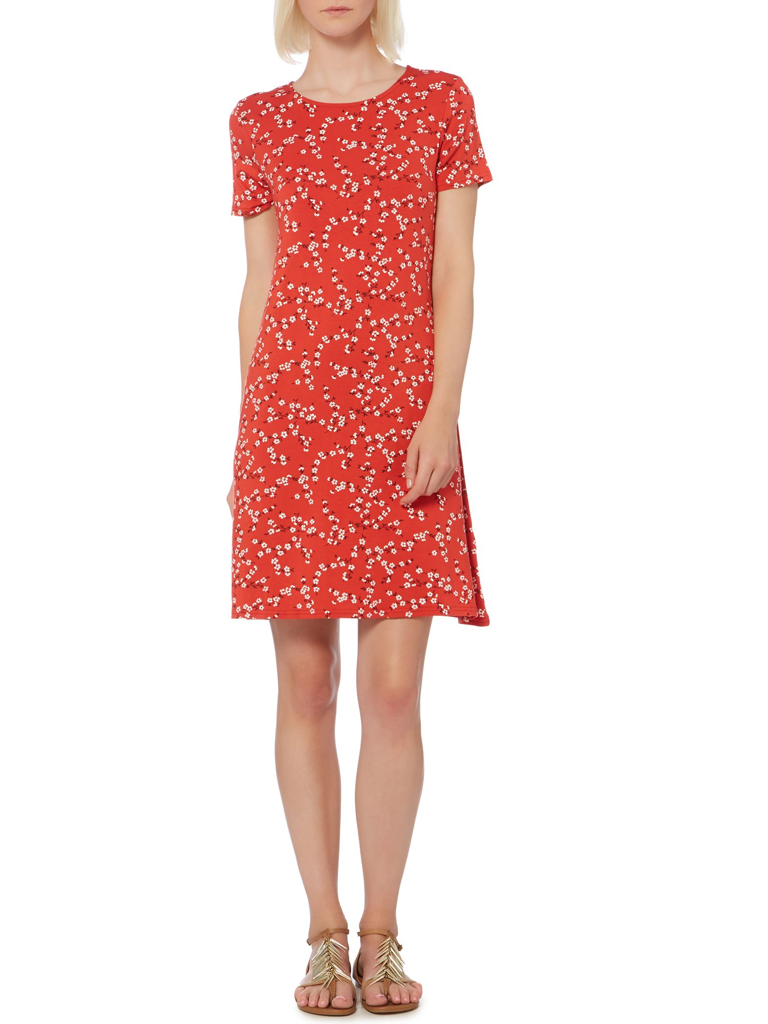 Ditsy floral print a-line jersey dress