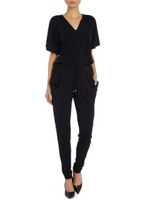 V neck flutter sleeve jumpsuit