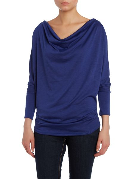 Wal-G Cowl Neck Zip Shoulder Top