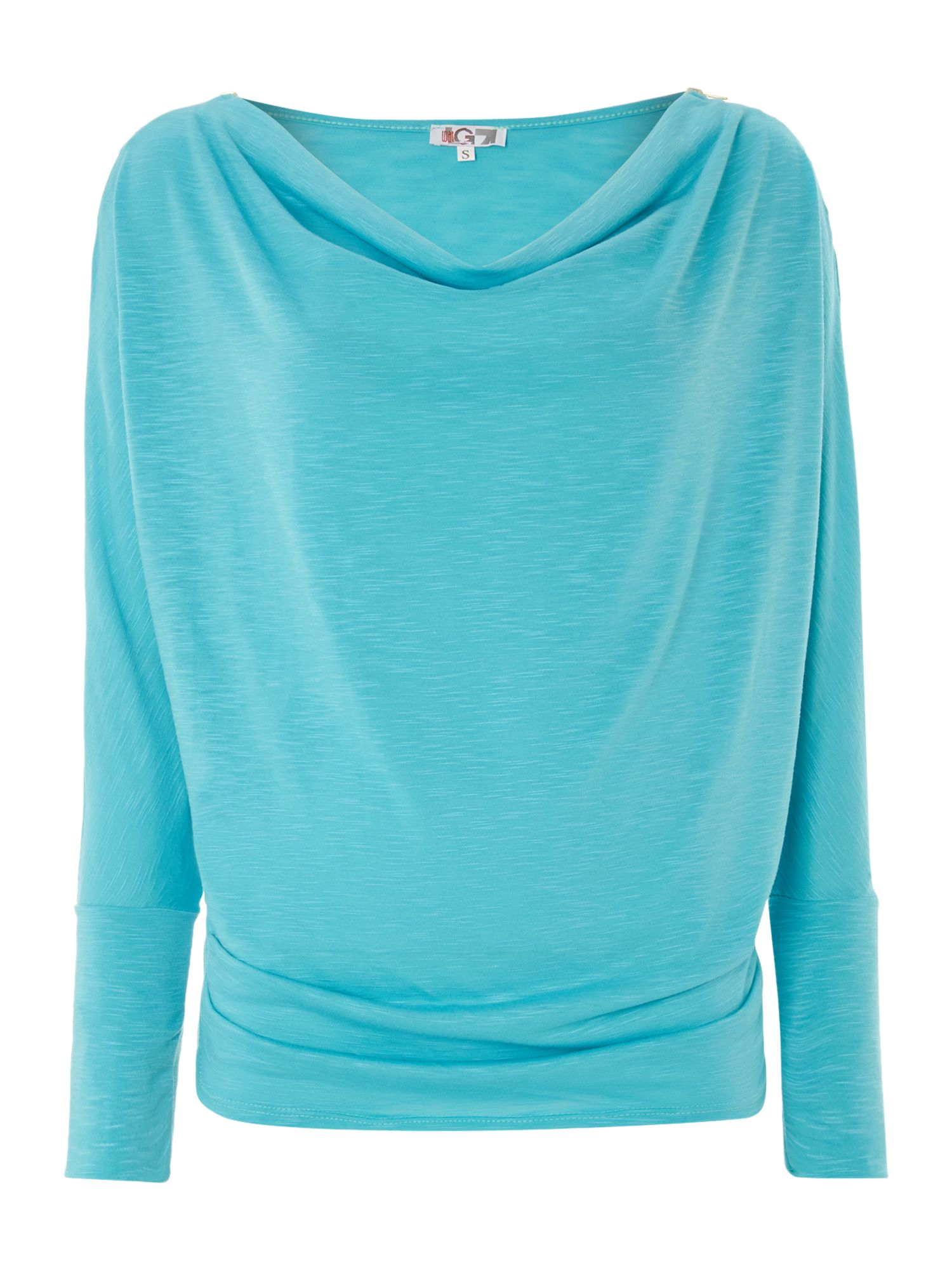 Cowl Neck Zip Shoulder Top