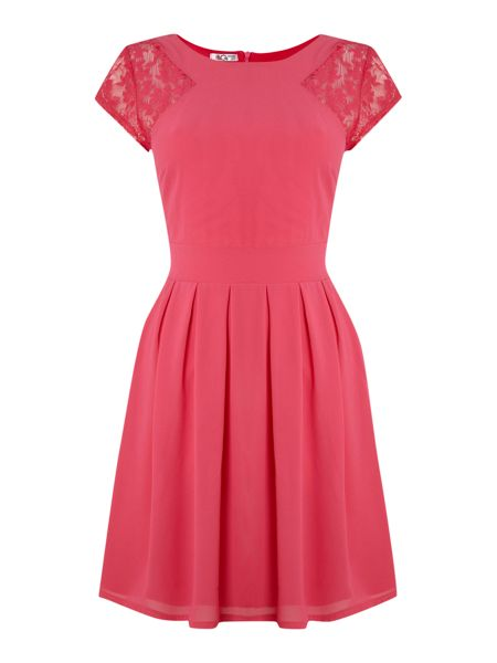 Wal-G Cap Sleeve Pleat Skirt Dress