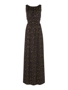 Star print column maxi dress