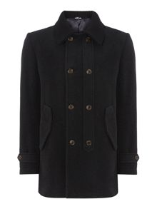 Knitted collar button up coat