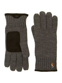 Merino glove with suede trim