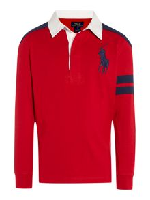 Boys rugby shirt with 67 applique back