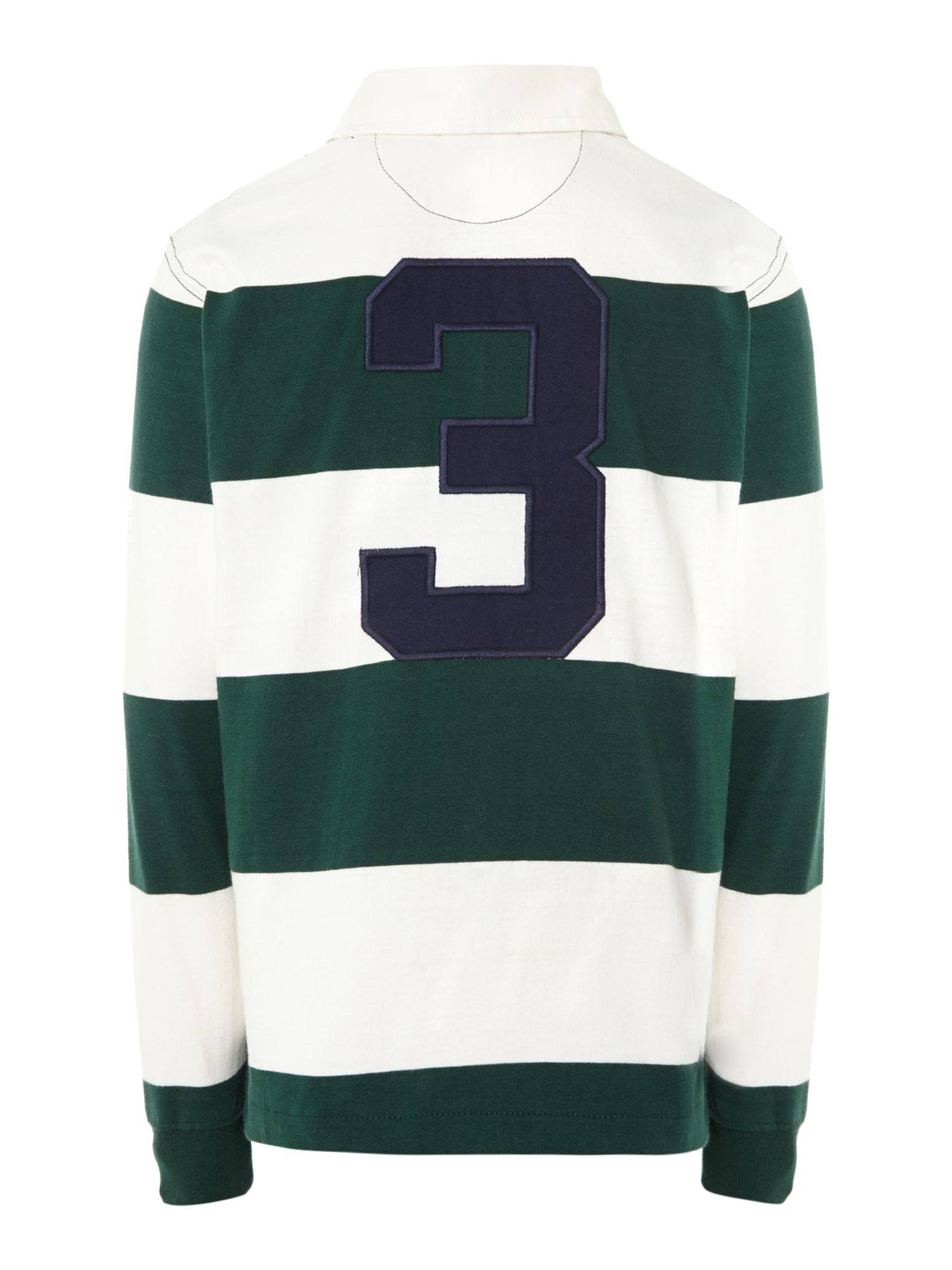 Boys stripe rugby shirt with number 3 on the back