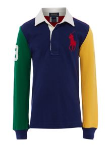 Boys colour block rugby shirt with big pony