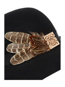 Floopy feather and logo hat