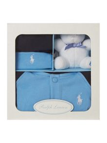 Baby boys all-in-one with teddy & hat giftbox set